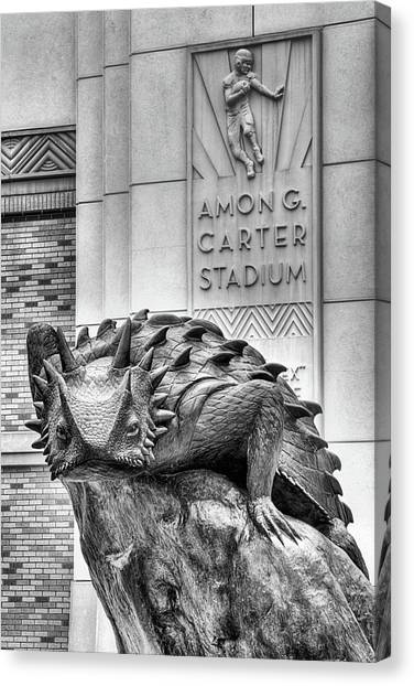 Texas Christian University Canvas Print - Amon G Carter Stadium Black And White by JC Findley