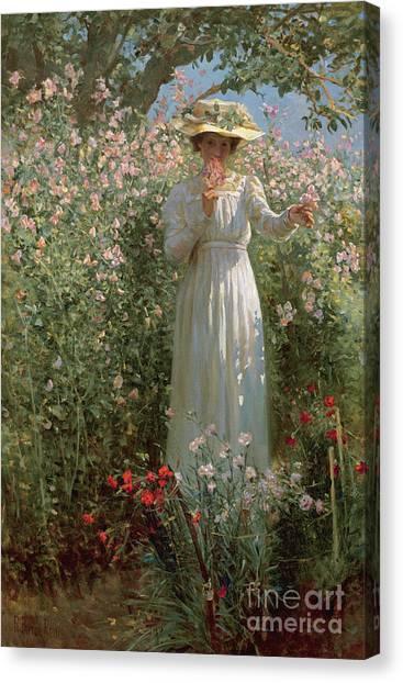 Victorian Garden Canvas Print - Among The Flowers by Robert Payton Reid