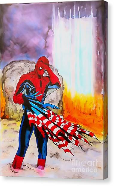 Us Civil War Canvas Print - Ams 9/11 Tribute Illustration Edition by Justin Moore