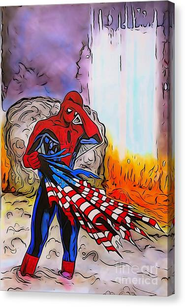 Us Civil War Canvas Print - Ams 9/11 Tribute Watercolor Edition by Justin Moore