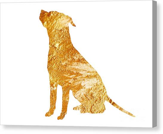 Dogs Canvas Print - Amstaff Gold Silhouette Large Poster by Joanna Szmerdt