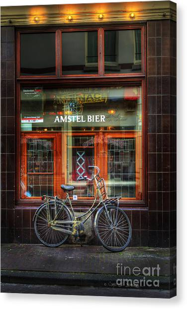 Amstel Bier Bicycle Canvas Print