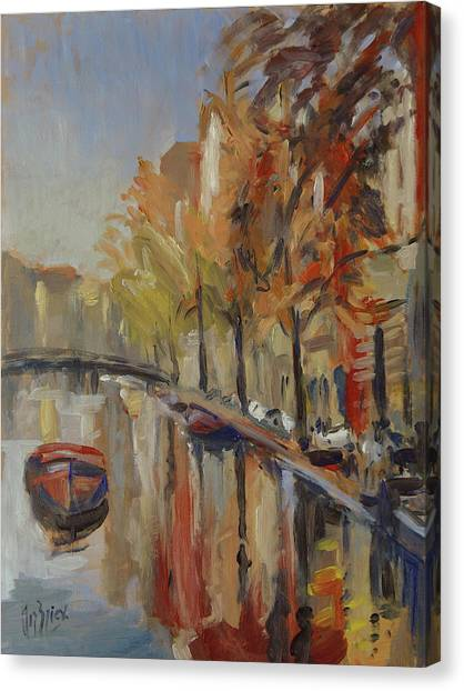 Canvas Print - Amsterdam Autumn With Boat by Nop Briex