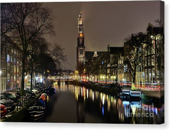 Amsterdam By Night - Prinsengracht Canvas Print
