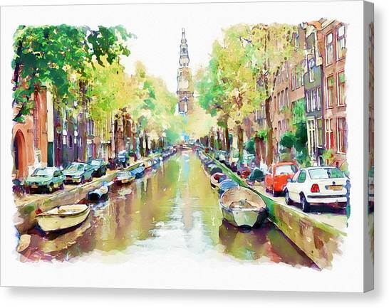 Affordable Canvas Print - Amsterdam Canal 2 by Marian Voicu