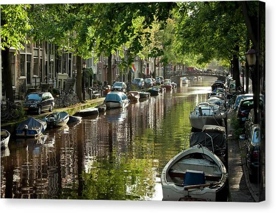 Unique View Canvas Print - Amsterdam Canal by Joan Carroll