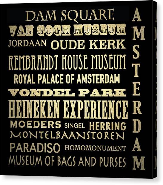 Amsterdam Famous Landmarks Canvas Print