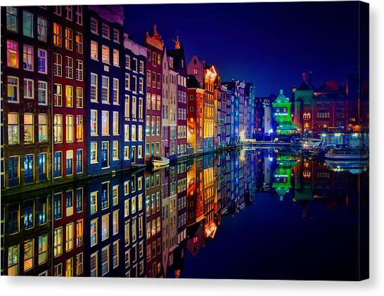 Night Canvas Print - Amsterdam by Juan Pablo Demiguel