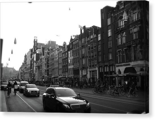 Canvas Print featuring the photograph Amsterdam Traffic 2 by Scott Hovind