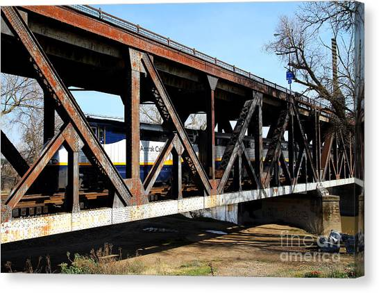 Amtrak Canvas Print - Amtrak California Crossing The Old Sacramento Southern Pacific Train Bridge . 7d11410 by Wingsdomain Art and Photography