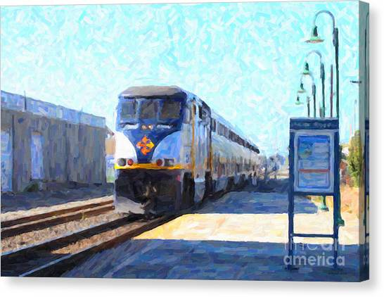 Amtrak Canvas Print - Amtrak Train At The Station by Wingsdomain Art and Photography