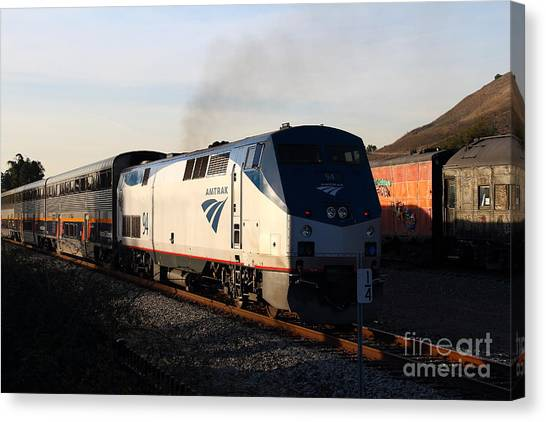 Amtrak Canvas Print - Amtrak Trains At The Niles Canyon Railway In Historic Niles District California . 7d10856 by Wingsdomain Art and Photography