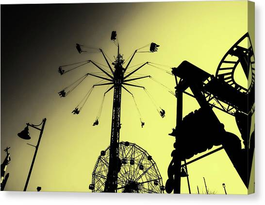 Amusements In Silhouette Canvas Print