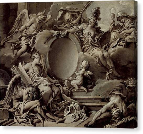 Boucher Canvas Print - An Allegory Of Minerva Fame History And Faith Overcoming Ignorance And Time by Francois Boucher