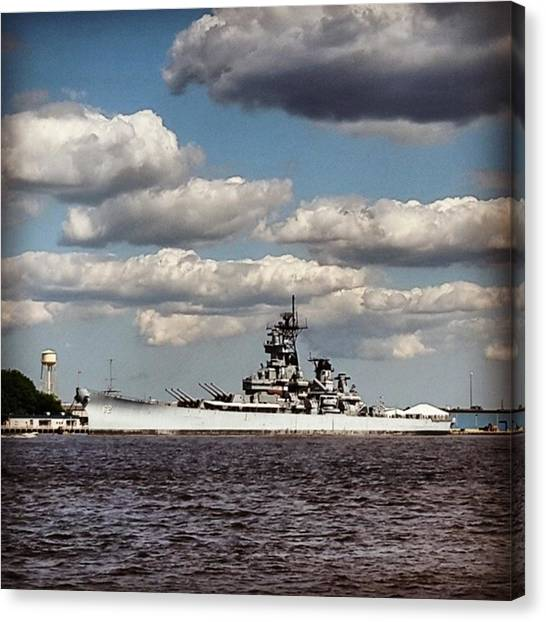 Battleship Canvas Print - An Amazing Day To See The #battleship by Matt Sweetwood