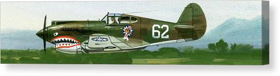 Green Camo Canvas Print - An American Curtiss P40 B Fighter by Wilf Hardy