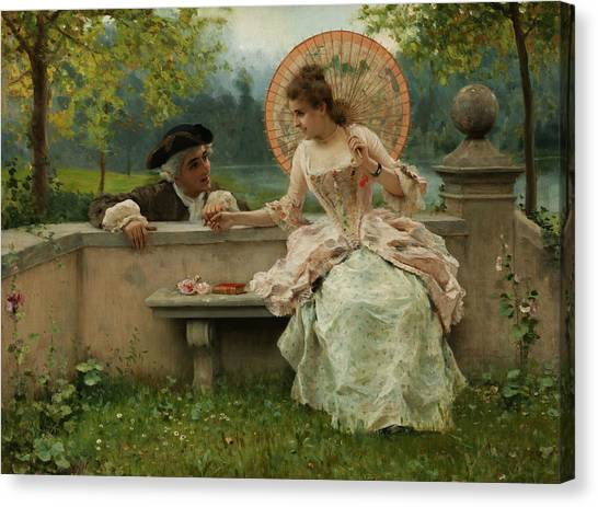 Rococo Art Canvas Print - An Amorous Conversation In The Park by Treasury Classics Art