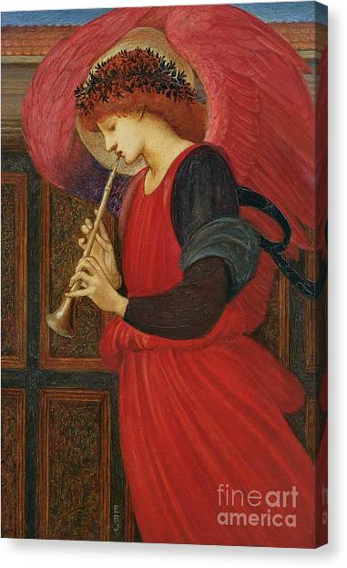 Three Girls Canvas Print - An Angel Playing A Flageolet by Sir Edward Burne-Jones