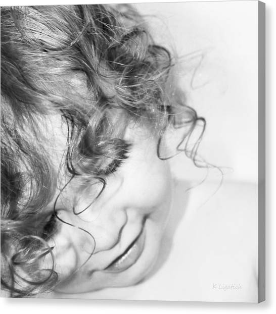 An Angels Smile - Black And White Canvas Print