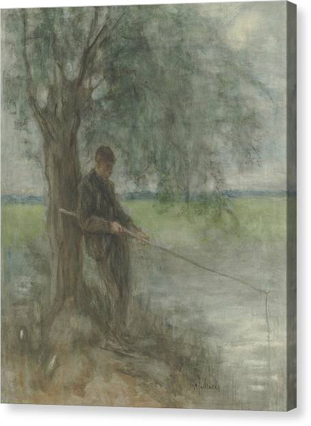 Angler Art Canvas Print - An Angler by Jozef Israels