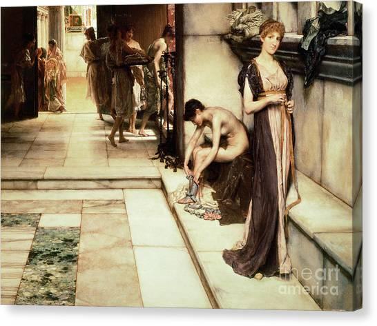 Female Nudes Canvas Print - An Apodyterium by Sir Lawrence Alma-Tadema