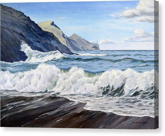 An April Morning At Crackington Haven Canvas Print