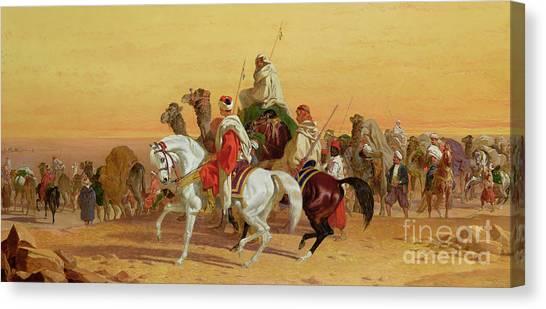 Arabian Desert Canvas Print - An Arab Caravan by John Frederick Herring Snr