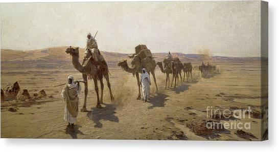 Arabian Desert Canvas Print - An Arab Caravan by Ludwig Hans Fischer