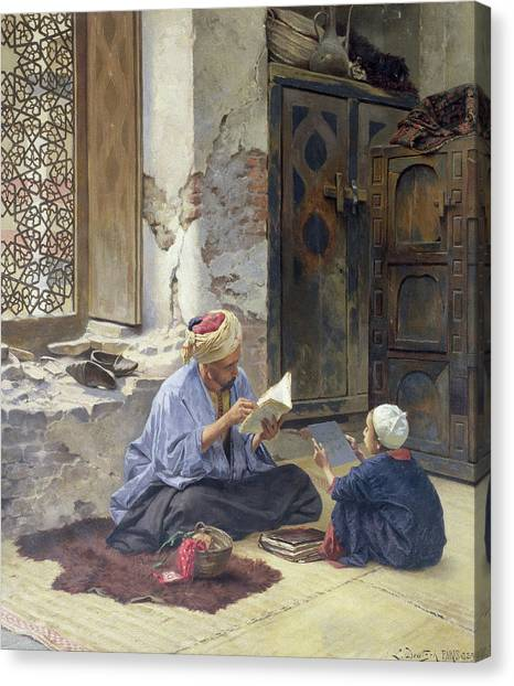 Muslim Canvas Print - An Arab Schoolmaster by Ludwig Deutsch