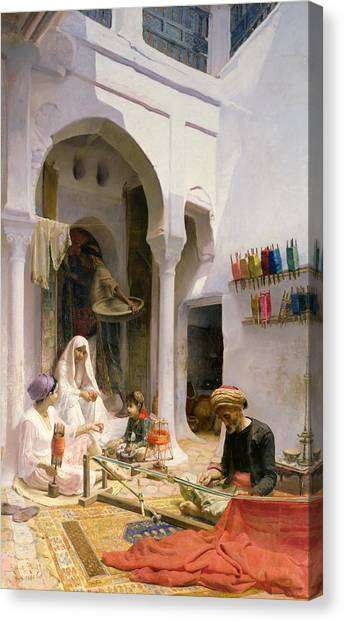 Muslim Canvas Print - An Arab Weaver by Armand Point