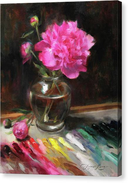 Peony Canvas Print - An Artist's Playground Revisited by Anna Rose Bain