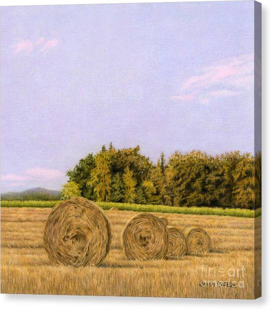 Hay Bales Canvas Print - An Autumn Evening by Sarah Batalka
