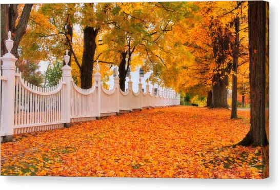 An Autumn Stroll - West Bennington Vermont Canvas Print by Expressive Landscapes Fine Art Photography by Thom