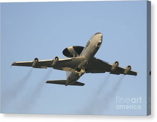 Nato Canvas Print - An E-3 Sentry Taking Off From The Nato by Timm Ziegenthaler