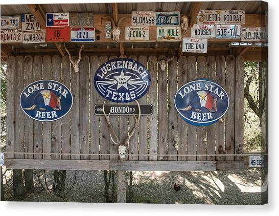 An Eclectic Display In Luckenbach Canvas Print