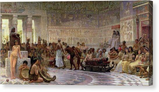 Egyptian Canvas Print - An Egyptian Feast by Edwin Longsden Long
