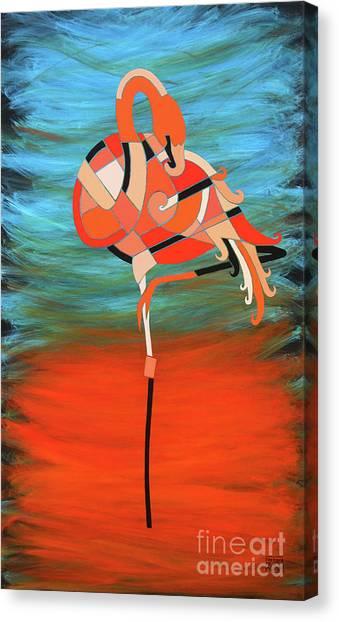 An Elegant Flamingo Canvas Print