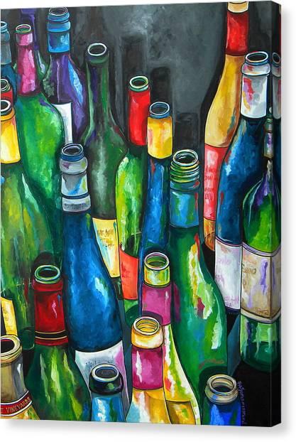 Wine Bottles Canvas Print - An Evening With Friends by Patti Schermerhorn