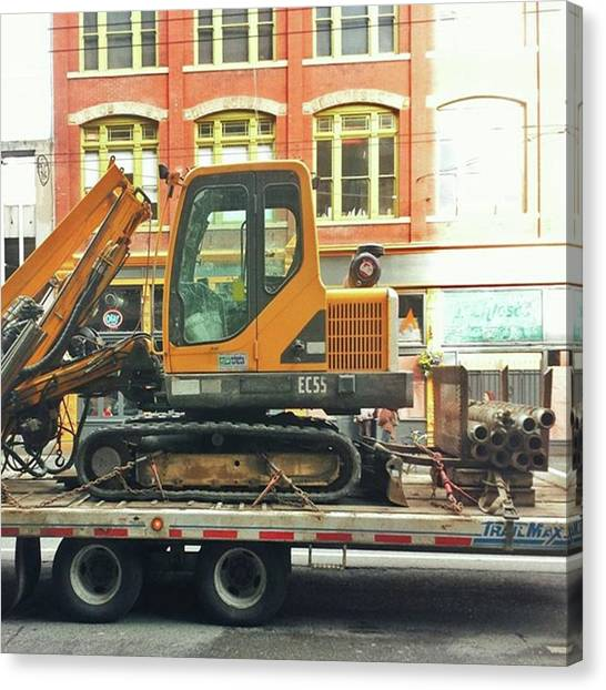 Excavators Canvas Print - An #excavator On A #flatbed by The Things We All See