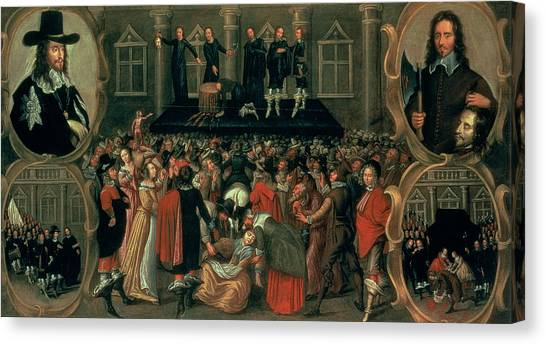 Representation Canvas Print - An Eyewitness Representation Of The Execution Of King Charles I by John Weesop