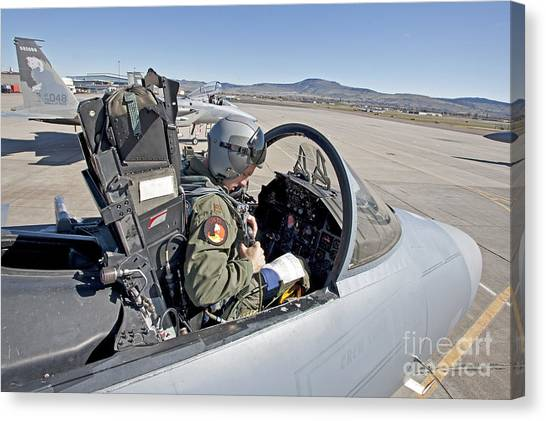 Cockpits Canvas Print - An F-15 Pilot Performs Preflight Checks by HIGH-G Productions