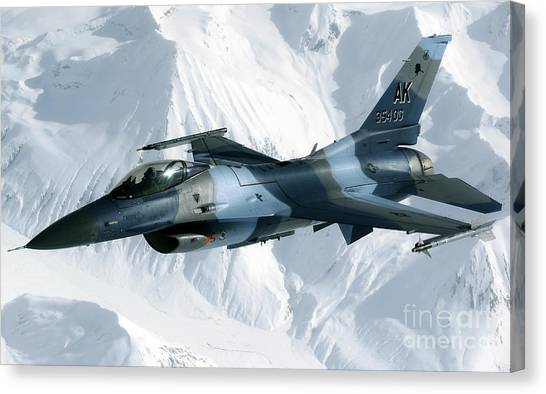 Sidewinders Canvas Print - An F-16 Aggressor Disconnectsfrom by Stocktrek Images