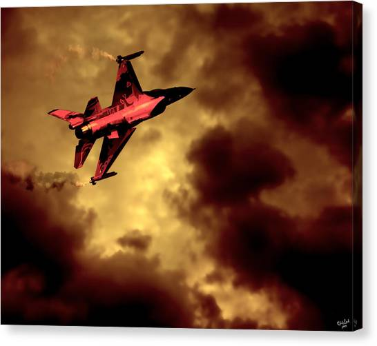 F16 Canvas Print - An F-16 Flies Through Hell by Chris Lord