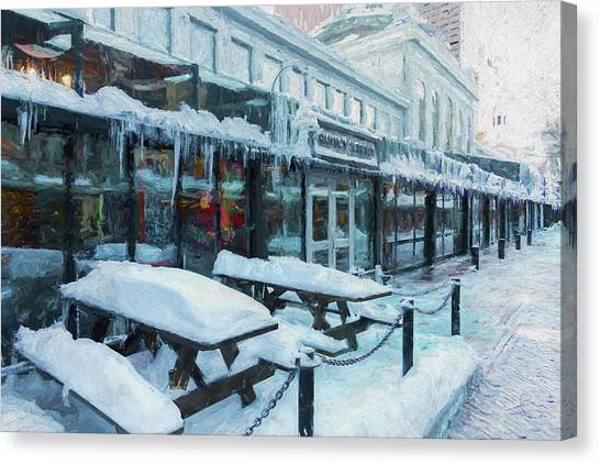 An Icy Quincy Market Canvas Print