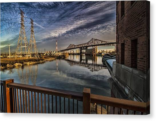 an Industrial river scene Canvas Print