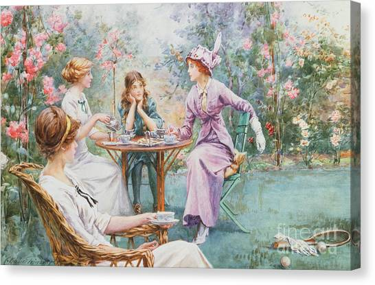 Victorian Garden Canvas Print - An Interested Audience by Charles MacIvor Grierson
