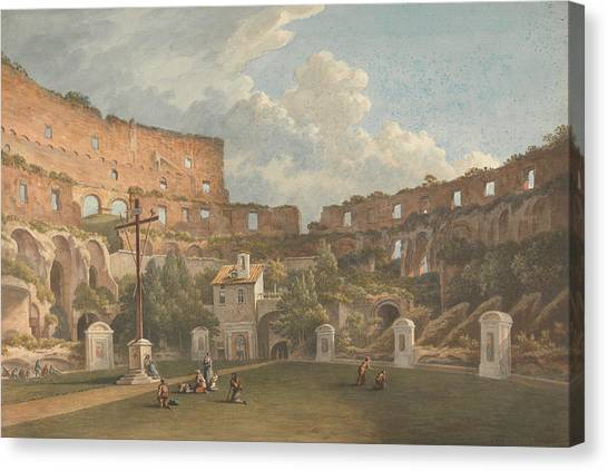 The Colosseum Canvas Print - An Interior View Of The Colosseum, Rome by John Warwick Smith