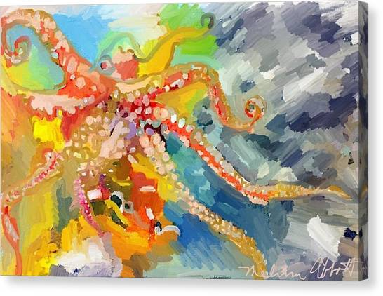 An Octopus Lunch Inspired This Painting Of An Octopus  Canvas Print