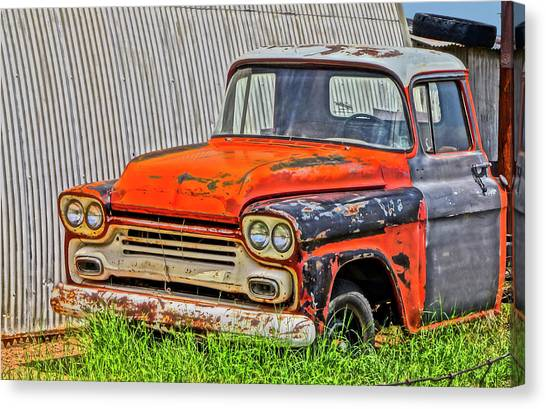 Rusty Truck Canvas Print - An Old Chevy Pickup Truck In A Junkyard  by Derrick Neill