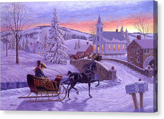 Worship Canvas Print - An Old Fashioned Christmas by Richard De Wolfe